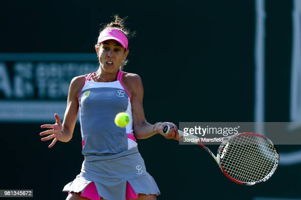 Mihaela Buzarnescu of Romania plays a forehand during her quarterfinal match against Elina Svitolina of Ukraine during Day Seven of the Nature Valley...