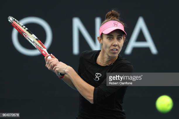 Mihaela Buzarnescu of Romania plays a forehand during the semi finals singles match against Lesia Tsurenko of the Ukraine during the 2018 Hobart...