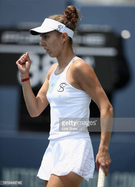 Mihaela Buzarnescu of Romania reacts after winning a point in her match against Ajla Tomljanovic of Australia during Day 5 of the Mubadala Silicon...
