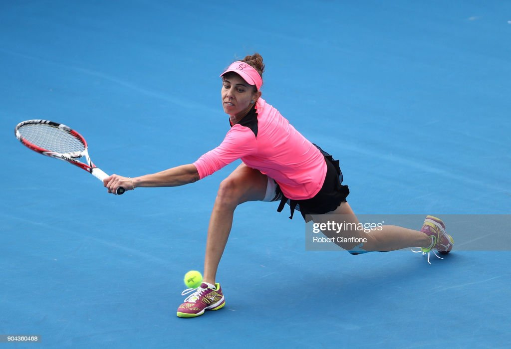 Mihaela Buzarnescu of Romania returns a shot during her finals match against Elise Mertens of Belgium during the 2018 Hobart International at Domain Tennis Centre on January 13, 2018 in Hobart, Australia.