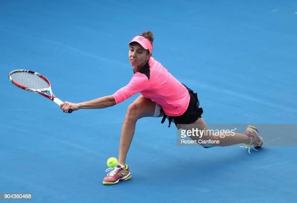Mihaela Buzarnescu of Romania returns a shot during her finals match against Elise Mertens of Belgium during the 2018 Hobart International at Domain...
