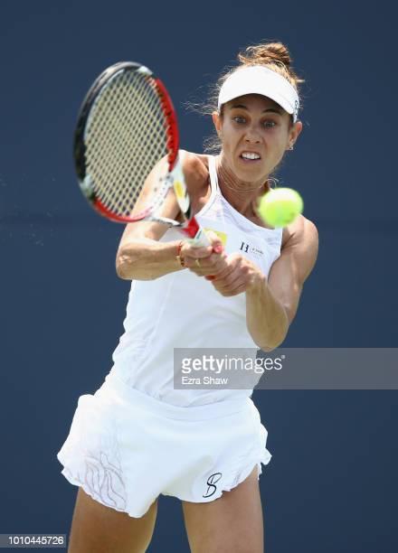 Mihaela Buzarnescu of Romania returns a shot to Ajla Tomljanovic of Australia during Day 5 of the Mubadala Silicon Valley Classic at Spartan Tennis...