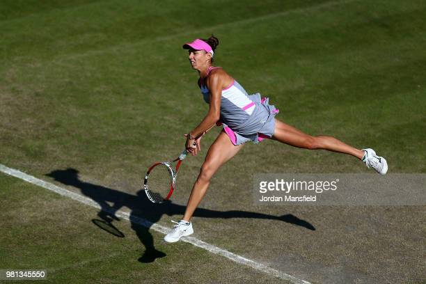 Mihaela Buzarnescu of Romania serves during her quarterfinal match against Elina Svitolina of Ukraine during Day Seven of the Nature Valley Classic...