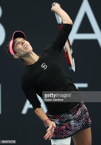 Mihaela Buzarnescu of Romania serves during the semi finals singles match against Lesia Tsurenko of the Ukraine during the 2018 Hobart International...