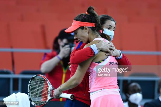 Mihaela Buzarnescu, player of team Romania dissapointed after she lost the match against Elisabeta Cocciaretto, italian player during the Billie Jean...