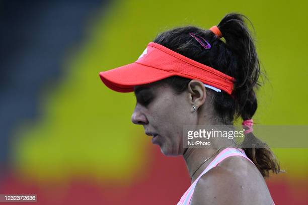 Mihaela Buzarnescu, player of team Romania during the match against Elisabeta Cocciaretto, italian player during the Billie Jean King cup in...