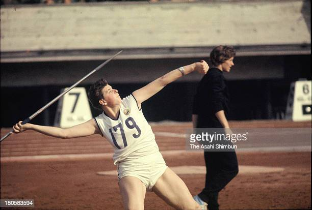 Mihaela Penes of Romania competes in the Women's Javelin Throw during the Tokyo Olympics at the National Stadium on October 16 1964 in Tokyo Japan