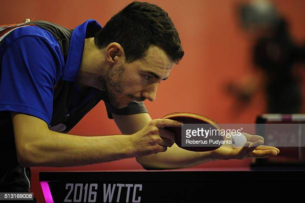 Mihai Bobocica of Italy competes against Tomislav Pucar of Croatia during the 2016 World Table Tennis Championship Men's Team Division Round 4 match...