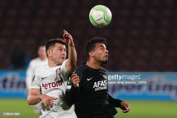 Mihai Bordeianu of CFR Cluj fights for the ball during the UEFA Europa Conference League group D match between CFR Cluj and AZ Alkmaar at Constantin...