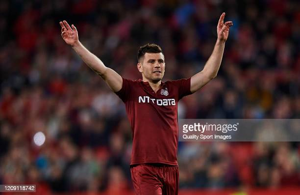 Mihai Bordeianu of CFR Cluj reacts during the UEFA Europa League round of 32 second leg match between Sevilla FC and CFR Cluj at Estadio Ramon...