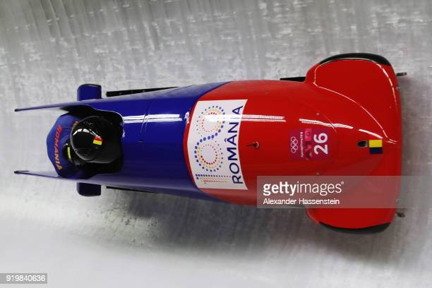 Mihai Cristian Tentea and Nicolae Ciprian Daroczi of Romania slide during twoman Bobsleigh heats on day nine of the PyeongChang 2018 Winter Olympic...