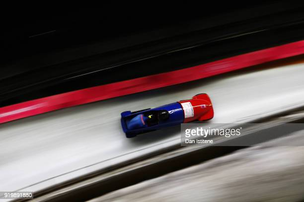 Mihai Cristian Tentea and Nicolae Ciprian Daroczi of Romania slides during twoman Bobsleigh heats on day nine of the PyeongChang 2018 Winter Olympic...
