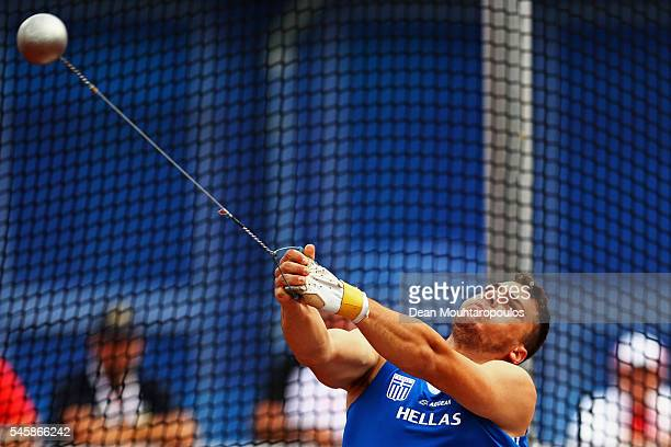 Mihail Anastasakis of Greece in action during the final of the mens hammer on day five of The 23rd European Athletics Championships at Olympic...