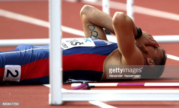 Mihail Dudas of Serbia reacts after falling in the Men's Decathlon 110 metres hurdles during day nine of the 16th IAAF World Athletics Championships...