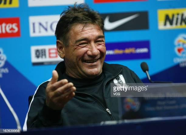 Mihailo Petrovic, coach of Urawa Red Diamonds, smiles during a press conference ahead of the AFC Champions League match between Guangzhou Evergrande...