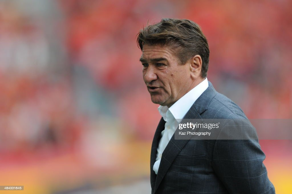 Mihailo Petrovic, manager of Urawa Red Diamonds during the J. League match between Nagoya Grampus and Urawa Red Diamonds at the Toyota Stadium on April 12, 2014 in Toyota, Japan.