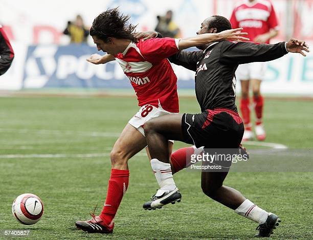 Mihailo Pjanovic of Spartak Moscow competes against Kristian Tchuise during the Russian League Championship match on April 23 2006 in Moscow Russia