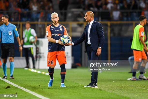 Mihailo Ristic and Michel Der Zakarian head coach of Montpellier during the Ligue 1 match between Montpellier and Lyon at Stade de la Mosson on...