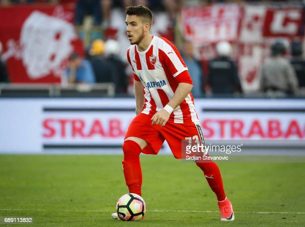 Mihailo Ristic of Crvena Zvezda in action during the final match of Serbian Cup between Fc Partizan and Fc Crvena Zvezda on May 27 2017 in Belgrade...