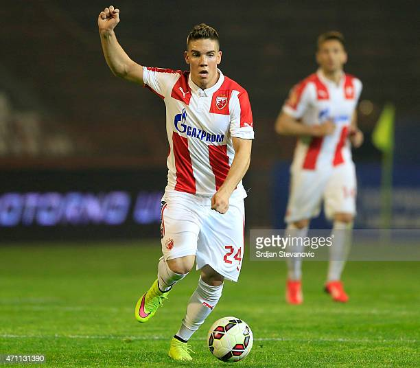 Mihailo Ristic of Crvena Zvezda in action during the Serbian Super League match between FK Crvena Zvezda and FK Partizan at stadium Rajko Mitic on...