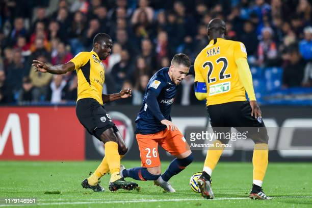 Mihailo RISTIC of Montpellier and Ande DONA NDOH of Nancy during the League Cup match between Montpellier and Nancy on October 30 2019 in Montpellier...