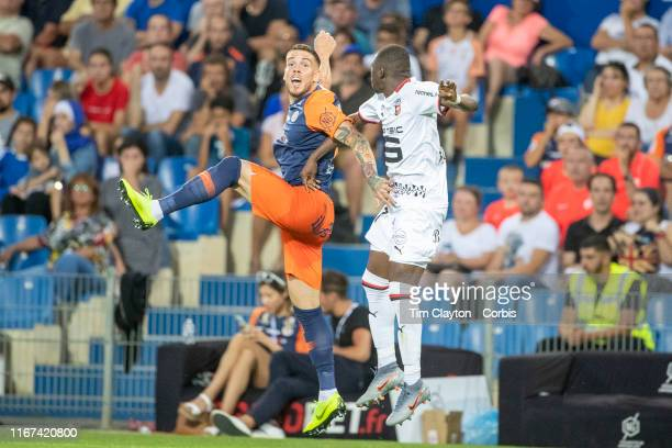 Mihailo Ristic of Montpellier and Hamari Traore of Rennes challenge for the ball during the Montpellier Vs Stade Rennes French Ligue 1 regular season...