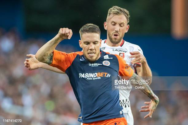 Mihailo Ristic of Montpellier challenged by Flavien Tait of Rennes during the Montpellier Vs Stade Rennes French Ligue 1 regular season match at...