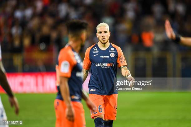 Mihailo Ristic of Montpellier during the Ligue 1 match between Montpellier and Lyon at Stade de la Mosson on August 27 2019 in Montpellier France