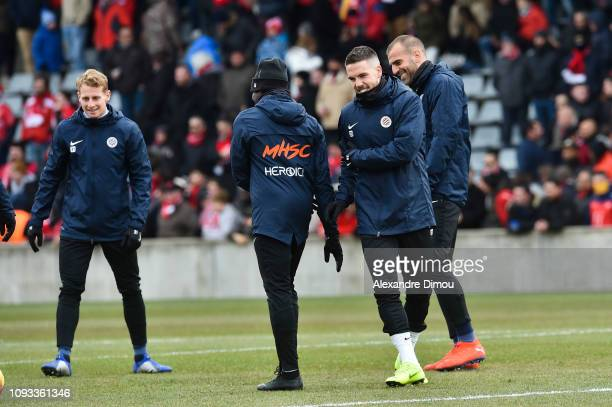 Mihailo Ristic of Montpellier during the Ligue 1 match between Nimes and Montpellier at Stade des Costieres on February 3 2019 in Nimes France