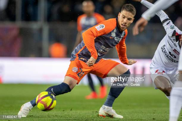 Mihailo Ristic of Montpellier in action during the Montpellier V Guingamp French Ligue 1 regular season match at Stade de la Mosson on April 3rd 2019...