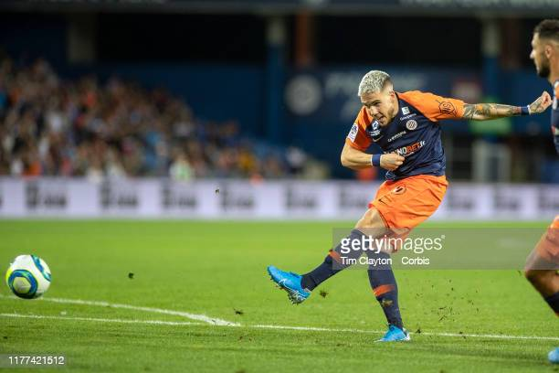 Mihailo Ristic of Montpellier shoots during the Montpellier V Nimes French Ligue 1 regular season match at Stade de la Mosson on September 25th 2019...