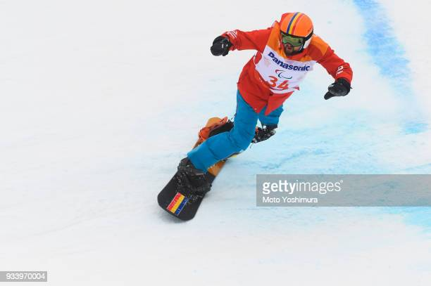 Mihaita Papara of the United States in the Snowboard Men's Banked Slalom SBLL1 Run 2 on day seven of the PyeongChang 2018 Paralympic Games on March...