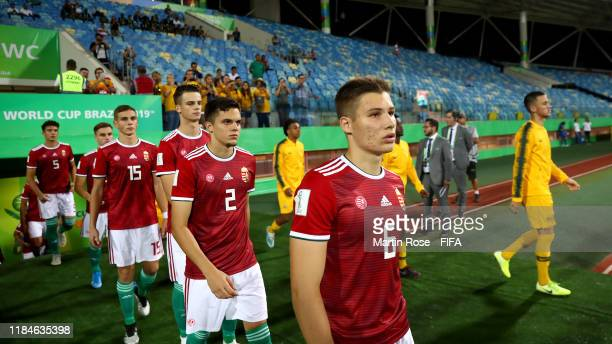 Mihaly Kata of Hungary walks onto the field ahead of the FIFA U17 World Cup Brazil 2019 Group B match between Australia and Hungary at Estadio...