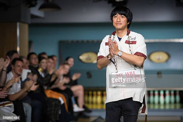 Mihara Yasuhiro appears on the runway after his show during The London Collections Men SS17 at Bloomsbury Bowling on June 13, 2016 in London, England.