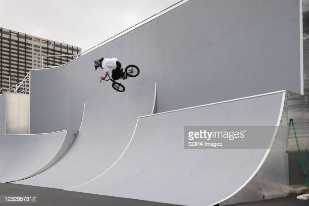 Miharu Ozawa in action during her first heat ride at the Ready Steady Tokyo BMX Freestyle Test Event in Ariake Urban Sports Park.