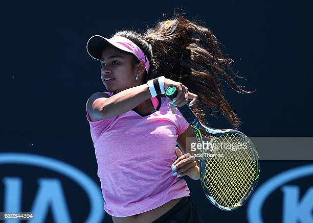 Mihika Yadav of India competes in her first round match against Ali Collins of Great Britain during the Australian Open 2017 Junior Championships at...