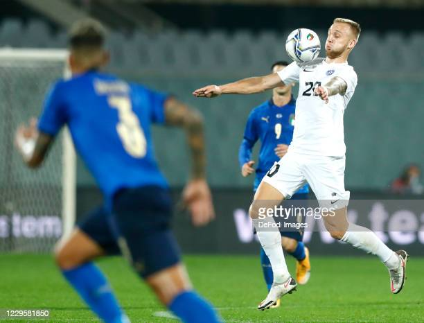 Mihkel Ainsalu of Estonia controls the ball during the International Friendly match between Italy and Estonia at Stadio Artemio Franchi on November...