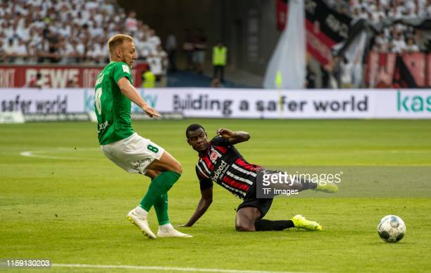 Mihkel Ainsalu of FC Flora Tallinn and Evan N'Dicka of Eintracht Frankfurt battle for the ball during the UEFA Europa League Second Qualifying Round...