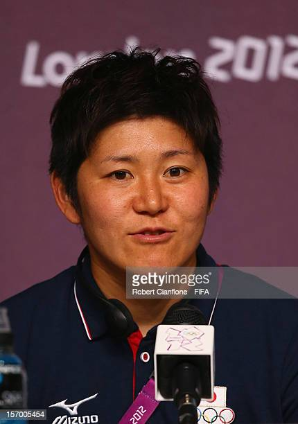 Miho Fukumoto during the Women's Football Final press conference at the Main Press Centre as part of the London 2012 Olympic Games on August 8 2012...