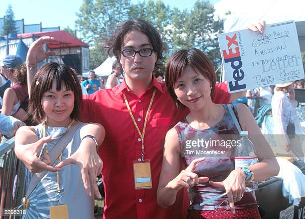 Miho Hatori Sean Lennon and Yuka Honda of Cibo Matto backstage at Lilith Fair 1999 at Shoreline Amphitheater in Mountain View Calif on July 14th 1999...