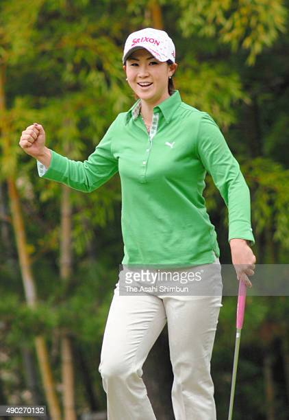 Miho Koga celebrates a birdie on the 7th green duirng the final round of the Studio Alice Ladies Open at hanayashiki Golf Course Yokawa Courseon...