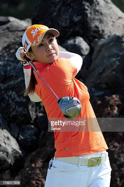 Miho Koga hits a shot during the second round of the Sankyo Ladies Open at Yoshii Country Club on October 8 2011 in Takasaki Gunma Japan