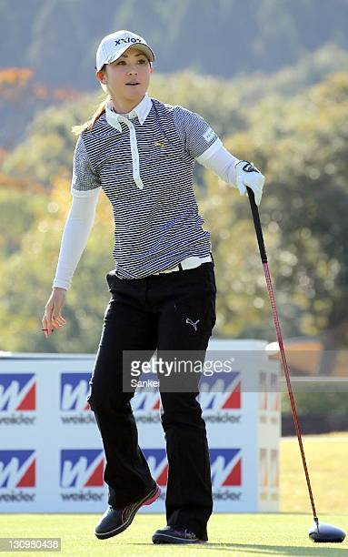 Miho Koga in action during the Pro and Amateur Game of the Weider Ladies 2011 at Morinaga Takataki Country Club on October 28 2011 in Ichihara Chiba...