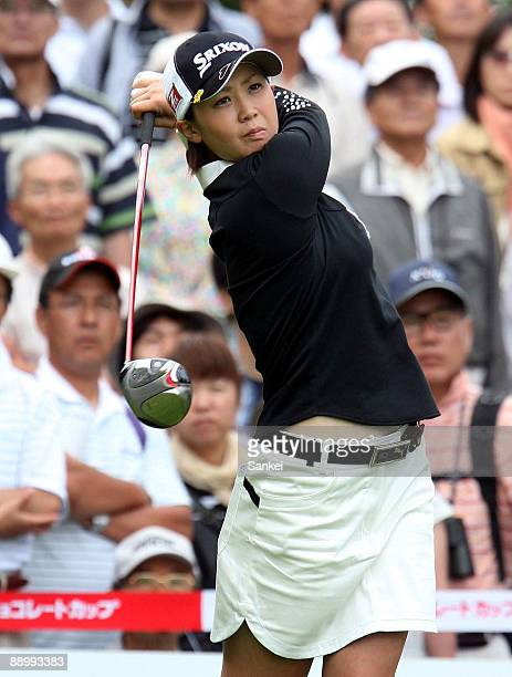 Miho Koga of Japan hit a tee shot during Meiji Chocolate Cup Final Day at Sapporo International Country Club on July 12 2009 in Kitahiroshima...