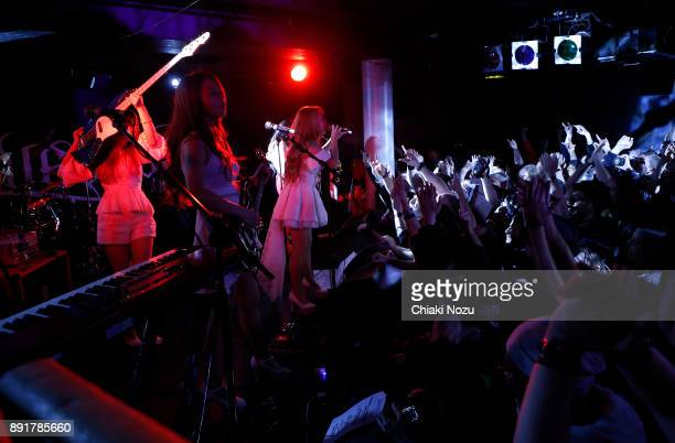 Miho Miya and Asami of Lovebites perform live on stage at Underworld on November 27 2017 in London England