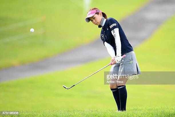 Miho Mori of Japan chips onto the 1st green during the second round of the Century 21 Ladies Golf Tournament 2016 at the Izu Daijin Country Club on...