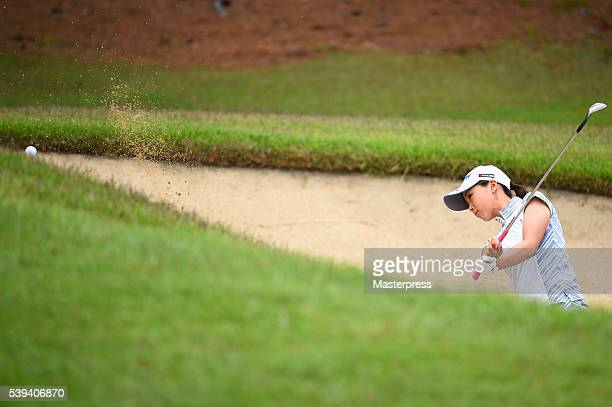 Miho Mori of Japan chips onto the green during the third round of the Suntory Ladies Open at the Rokko Kokusai Golf Club on June 11 2016 in Kobe Japan