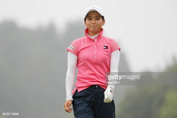 Miho Mori of Japan hits a tee shot on the second hole during the final round of the Castrol Ladies at the Fuji OGM Golf Club Ichihara Course on July...