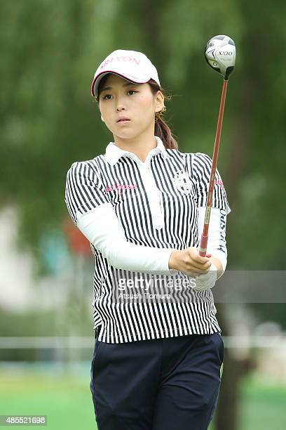 Miho Mori of Japan hits her tee shot on the 10th hole during the first round of the Nitori Ladies 2015 at the Otaru Country Club on August 28 2015 in...