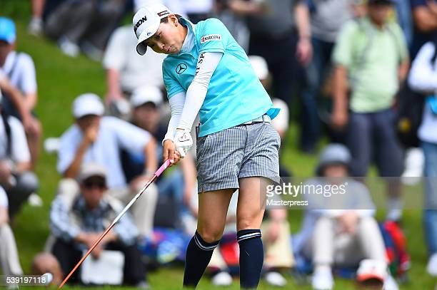 Miho Mori of Japan hits her tee shot on the 18th hole during the second round of the Suntory Ladies Open at the Rokko Kokusai Golf Club on June 10...
